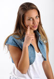 Young girl with a speculative expression Stock Photo