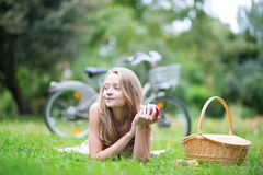 Young girl spending her time in the countryside Royalty Free Stock Photography