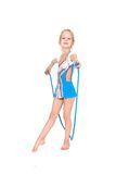 Young girl with sport rope. Posing over white Royalty Free Stock Photos