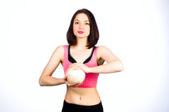 Young girl in the sports form Royalty Free Stock Photos