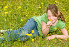 Young girl in spring meadow Stock Image