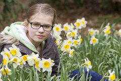 Young girl in spring park. Portrait Royalty Free Stock Photo
