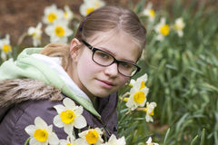 Young girl in spring park. Portrait Royalty Free Stock Photography