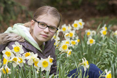 Young girl in spring park. Portrait Royalty Free Stock Photos