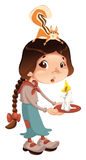Young girl with squirrel and candle. Royalty Free Stock Photo