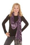 Young girl stand pose scarf Stock Photos