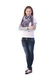 Young girl standing arms crossed smiling Royalty Free Stock Photos