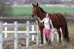Young girl standing with her horse near paddock royalty free stock photos