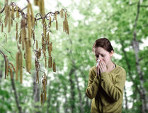 Young girl standing next to catkins blowing her no Royalty Free Stock Photography