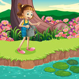 A young girl standing at the riverbank holding a sprinkler vector illustration