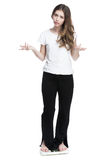 Young girl standing on the scales measuring weight Royalty Free Stock Image