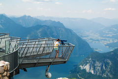 Young girl standing on the viewing platform Five Fingers Stock Photo