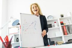 A young girl stands near a table in the office and explains the schedule on the magnetic board. A slender young girl in a white blouse is working in the office Royalty Free Stock Image