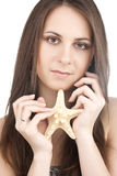 Young girl with starfish Stock Photography