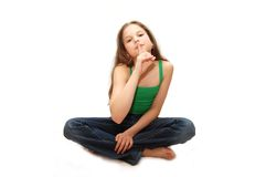 The young girl storing secrets. The beautiful young girl storing secrets Royalty Free Stock Photography