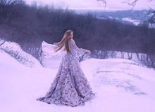 Young girl with straight fair hair in light flying fluttering by the wind, purple lilac long dress decorated with. Flowers stands on a hill in winter on snow in stock photography