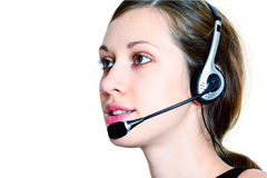 Young girl with straight headset Royalty Free Stock Image