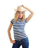 Young girl in a straw hat Stock Images