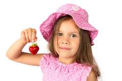 Young Girl with a Strawberry Stock Photography