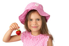 Young Girl with a Strawberry Royalty Free Stock Photography