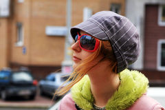 Young girl in the street Royalty Free Stock Photos