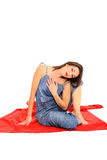 Young girl stretching Royalty Free Stock Images