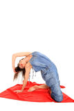 Young girl stretching Stock Photo