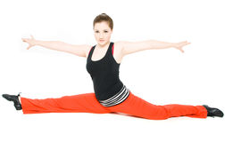 A young girl stretching Royalty Free Stock Photography