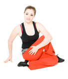 A young girl stretching stock photography