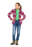 Young Girl In Striped Fleece Royalty Free Stock Photos