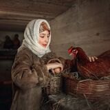 A young girl strokes a chicken on the back