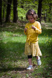 Young girl strolling in the woods Royalty Free Stock Images