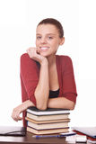 Young girl student with books Stock Images
