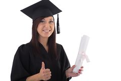 Young girl in student mantle with diploma Stock Image