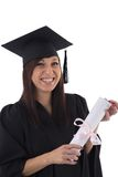 Young girl in student mantle with diploma Stock Photos