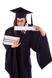 Young girl in student mantle kisses her diploma Stock Images