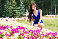 Young girl, student, sits near the flowers in the Park Royalty Free Stock Photography