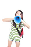 Young girl student yelling through megaphone Royalty Free Stock Photography