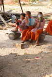 Young girl students at a Buddhist school Royalty Free Stock Photos
