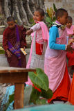 Young girl students at a Buddhist school Royalty Free Stock Images