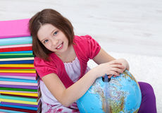 Young girl with study materials Royalty Free Stock Photos