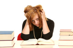 Young girl studying for exams. Stock Photography
