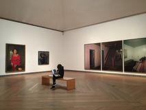 Girl in moderna museet in stockholm. Young girl studying in a museum Stock Images