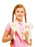 Young girl studying structure of the tooth Royalty Free Stock Photo