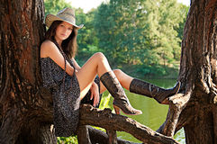 A young girl in the style of the country. Stock Photo