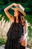 A young girl in the style of the country. Royalty Free Stock Photography