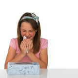Young girl suffering from a cold or hayfever Stock Photo