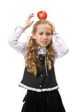 Young girl suffering from fell down apple Stock Photography