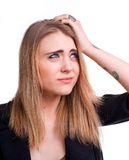 Young girl suffering from headache Stock Images