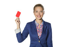 A young girl in a suit with a card Stock Photo